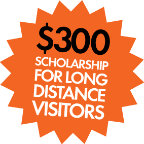 $300 scholarship for long distance visitors.